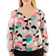 Worthington® Long-Sleeve Crossover Blouse - Plus