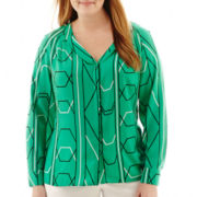 Worthington® Long-Sleeve V-Neck Print Blouse - Plus