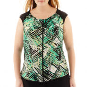 Worthington® Short-Sleeve Pleat-Neck Top - Plus