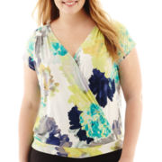 Worthington® Short-Sleeve Crossover Blouse - Plus