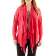 Worthington® Long-Sleeve Tipped Flyaway Cardigan Sweater - Plus