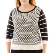 Worthington® 3/4-Sleeve Textured Sweater - Plus