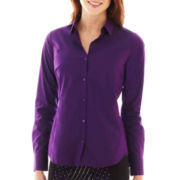 Worthington® Long-Sleeve Button-Front Shirt - Tall