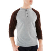 St. John's Bay® Long-Sleeve Sueded Baseball Henley