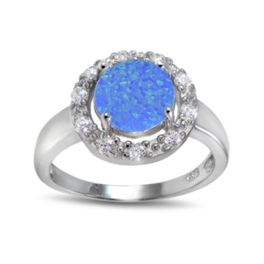 jcpenney.com | Lab-Created Blue Opal and Cubic Zirconia-Accent Sterling Silver Round Halo Ring