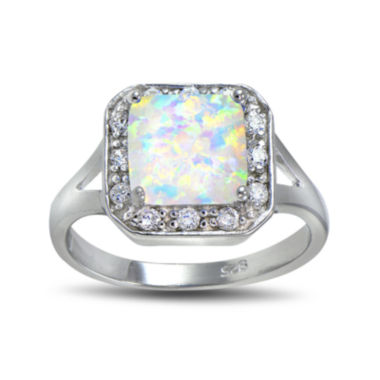 jcpenney.com | Lab-Created Opal and Cubic Zirconia-Accent Sterling Silver Square Halo Ring