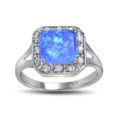 jcpenney.com | Lab-Created Blue Opal and Cubic Zirconia-Accent Sterling Silver Square Halo Ring