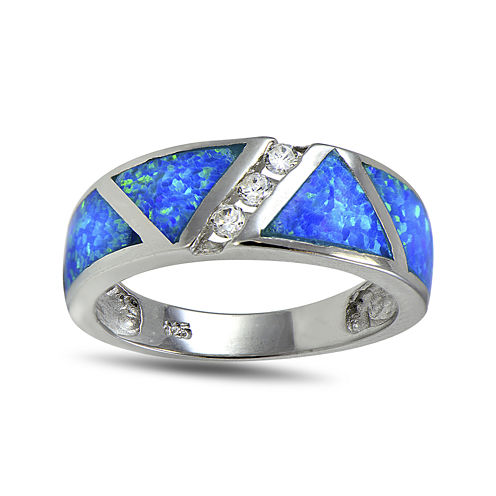 Lab-Created Blue Opal and Cubic Zirconia-Accents Band Ring