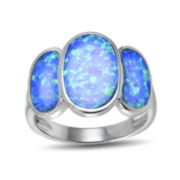 Lab-Created Blue Opal Three-Stone Sterling Silver Ring