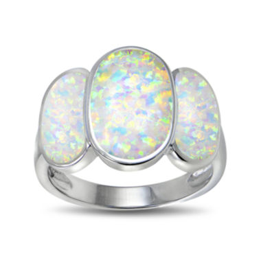 jcpenney.com | Lab-Created Opal Three-Stone Sterling Silver Ring