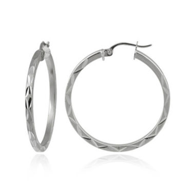 jcpenney.com | Sterling Silver Diamond-Cut 30MM Hoop Earrings