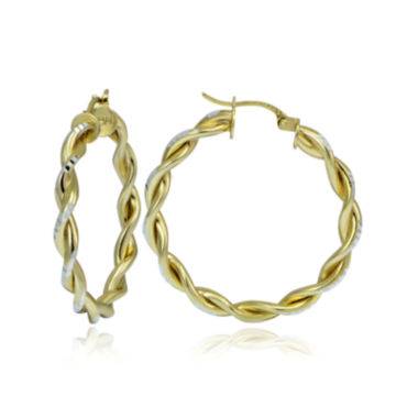 jcpenney.com | 14K Two-Tone Gold Over Sterling Silver Double Twist 30mm Hoop Earrings