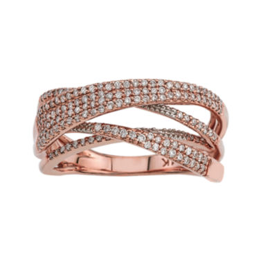 jcpenney.com | LIMITED QUANTITIES 1/2 CT. T.W. Diamond 14K Rose Gold Crossover Ring