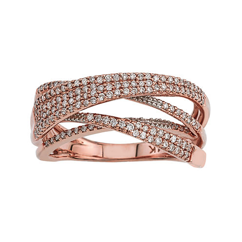 LIMITED QUANTITIES 1/2 CT. T.W. Diamond 14K Rose Gold Crossover Ring