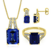 Lab-Created Blue and White Sapphire Ring, Earrings or Pendant