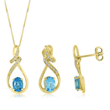 jcpenney.com | Genuine Blue Topaz and Lab-Created White Sapphire Earrings Or Pendant
