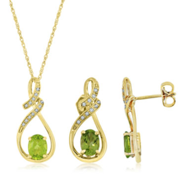 jcpenney.com | Genuine Peridot and Lab Created White Sapphire Pendant Or Earrings