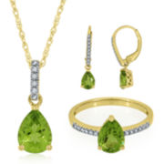 Genuine Peridot & Lab-Created White Sapphire Gold Over Silver Ring, Earrings or Pendant