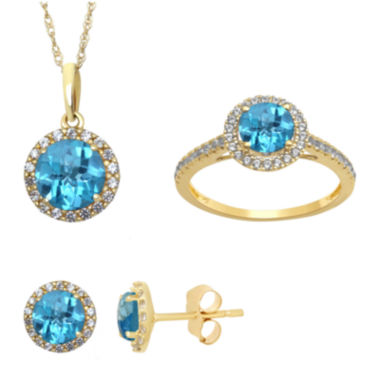 jcpenney.com | Genuine Blue Topaz and Lab Created White Sapphire Earrings, Ring Or Pendant