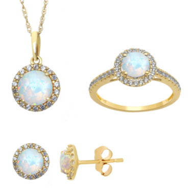 jcpenney.com | Lab Created Opal and White Sapphire Earrings, Ring Or Pendant