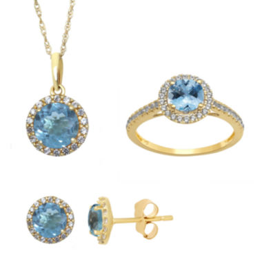 jcpenney.com | Genuine Aquamarine and Lab Created White Sapphire Stud, Ring Or Pendant