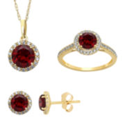 Genuine Garnet And Lab Created White Sapphire Earrings, Ring Or Pendant