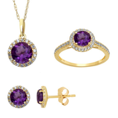 jcpenney.com | Genuine Amethyst and Lab Created White Sapphire Earrings, Pendant Or Ring