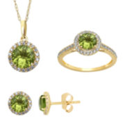 Genuine Peridot And Lab Created White Sapphire Earrings, Ring Or Pendant