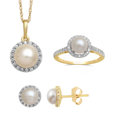 jcpenney.com | Cultured Freshwater Pearl and Lab Created White Sapphire Earrings, Pendant Or Ring