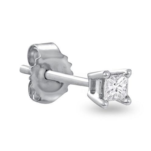 Single 1/10 CT. T.W. Diamond 14K White Gold Stud Earring