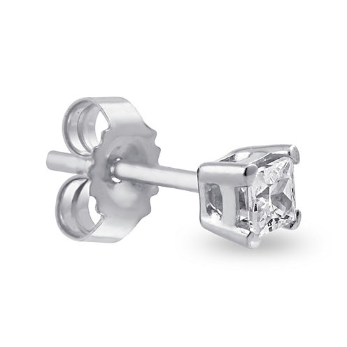 Single 1/8 CT. T.W. Diamond 14K White Gold Stud Earring