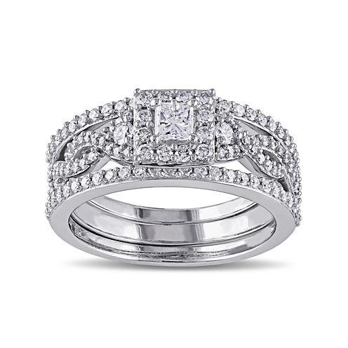 1 CT. T.W. Diamond 10K White Gold Bridal Ring Set