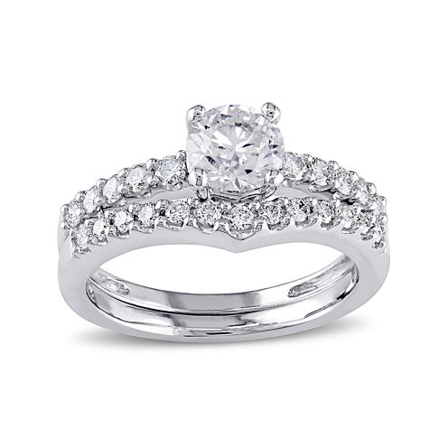 7/8 CT. T.W. Diamond 14K White Gold Bridal Ring Set