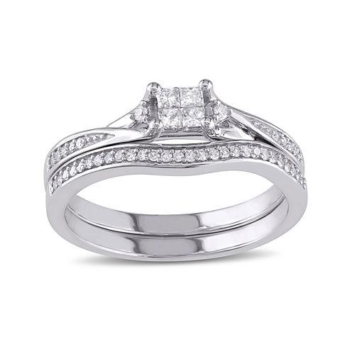 1/4 CT. T.W. Diamond 10K White Gold Ring Set