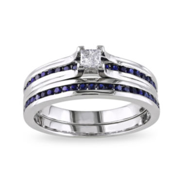 jcpenney.com | 5/8 CT. T.W. White and Lab-Created Blue Sapphire Ring Set
