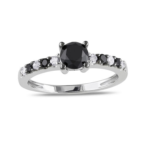 Midnight Black Diamond 1 CT. T.W. White and Color-Enhanced Black Diamond Sterling Silver Engagement Ring