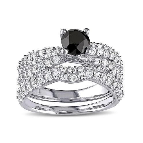 Midnight Black Diamond 1 CT. T.W. Color-Enhanced Black Diamond and Lab-Created White Sapphire Ring