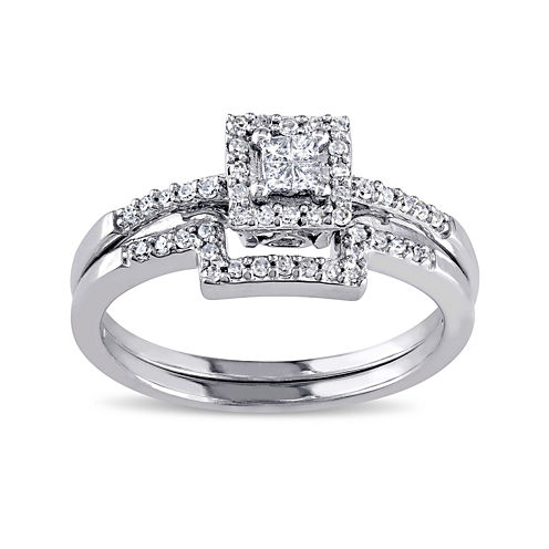 1/3 CT. T.W. Diamond 10K White Gold Ring Set