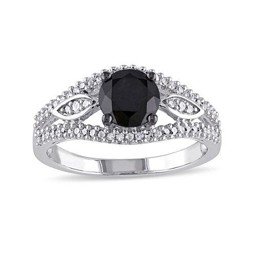 Midnight Black Diamond 1 1/4 CT. T.W. White and Color-Enhanced Black Diamond 10K White Gold Vintage-Inspired Engagement Ring