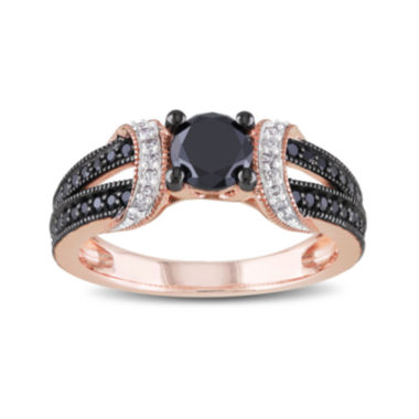 jcpenney.com | 1 CT. T.W. White and Color-Enhanced Black Diamond 10K Rose Gold Ring