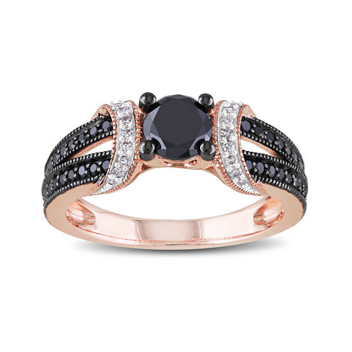 Midnight Black Diamond 1 CT. T.W. White and Color-Enhanced Black Diamond 10K Rose Gold Ring