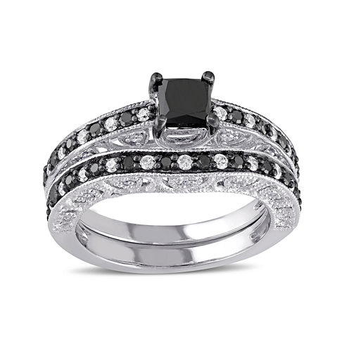 Midnight Black Diamond 1¼  CT. T.W. White and Color-Enhanced Diamond Sterling Silver Ring Set