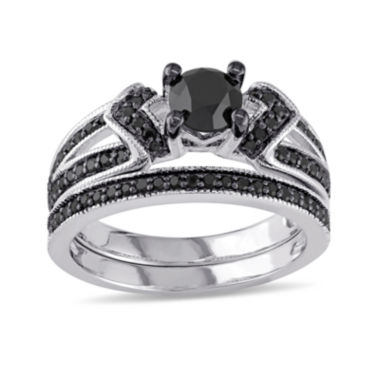 jcpenney.com | Midnight Black Diamond 1 CT. T.W. Color-Enhanced Black Diamond Sterling Silver Bridal Set