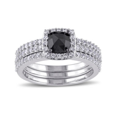 jcpenney.com | Midnight Black Diamond 1 1/2 CT. T.W. White and Color-Enhanced Black Diamond 10K White Gold Bridal Set