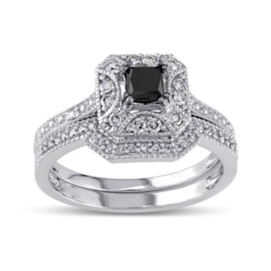 jcpenney.com | Midnight Black Diamond 5/8 CT. T.W. White and Color-Enhanced Black Diamond 10K White Gold Vintage-Style Bridal Set