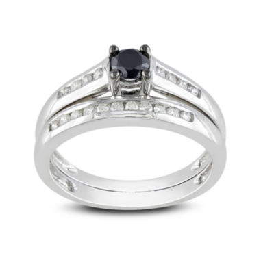 jcpenney.com | Midnight Black Diamond 1/2 CT. T.W. White and Color-Enhanced Black Diamond 14K White Gold Bridal Set