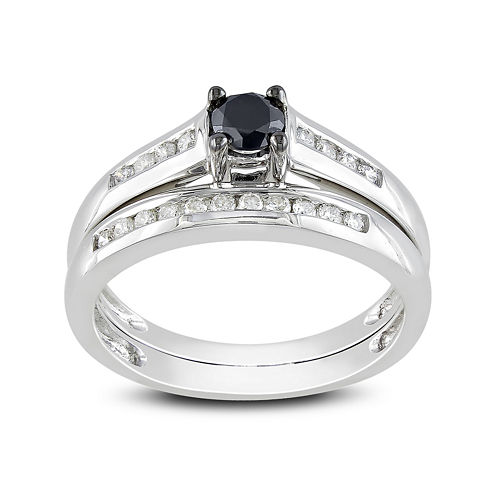 Midnight Black Diamond 1/2 CT. T.W. White and Color-Enhanced Black Diamond 14K White Gold Bridal Set
