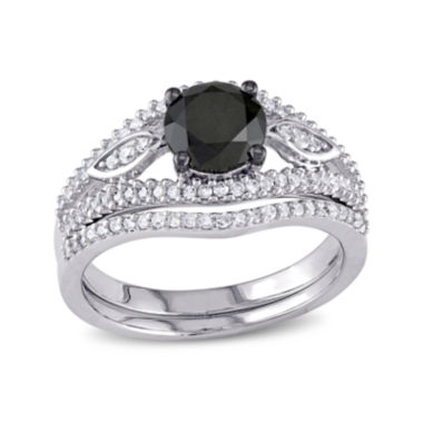 jcpenney.com | Midnight Black Diamond 1⅓ CT. T.W. White and Color-Enhanced Diamond Bridal Ring Set