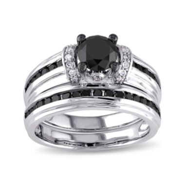 jcpenney.com | Midnight Black Diamond 1 5/8 CT. T.W. White and Color-Enhanced Black Diamond Bridal Ring Set