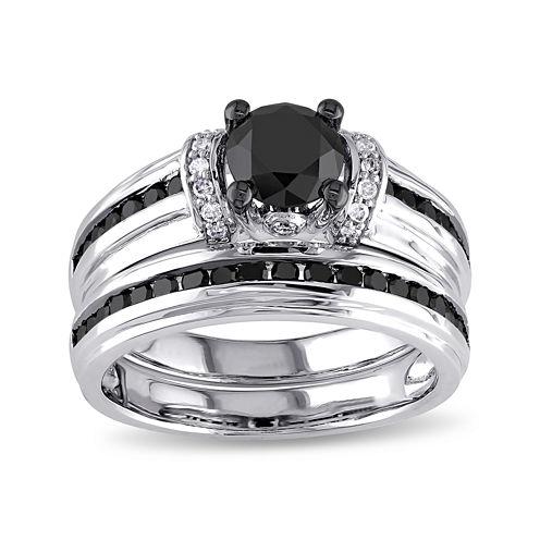 Midnight Black Diamond 1 5/8 CT. T.W. White and Color-Enhanced Black Diamond Bridal Ring Set